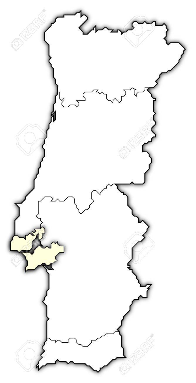 Political Map Of Portugal With The Several Regions Where Lisboa