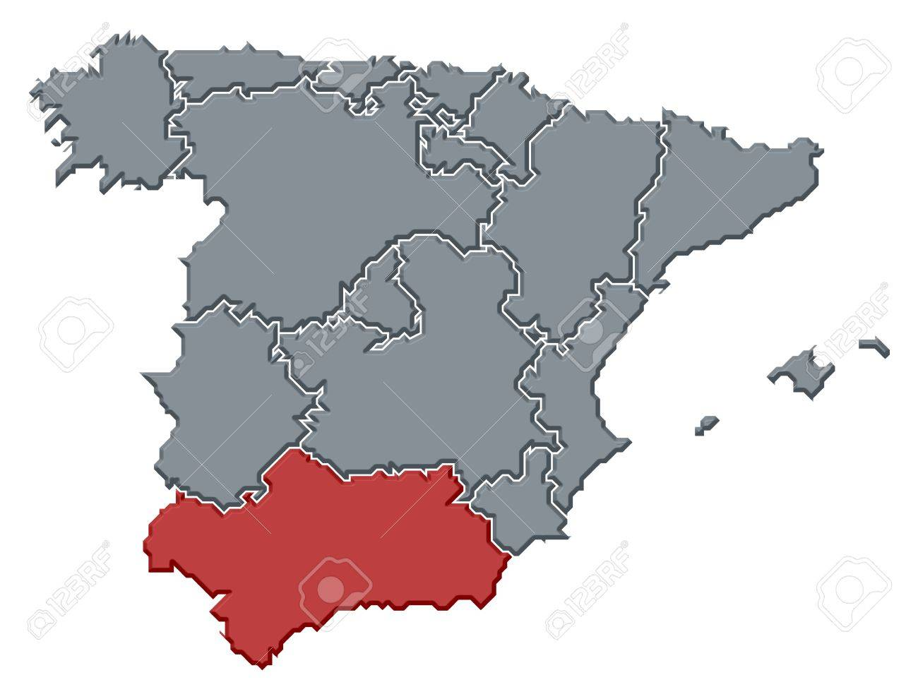 Political Map Of Spain With The Several Regions Where Andalusia - Andalusia map