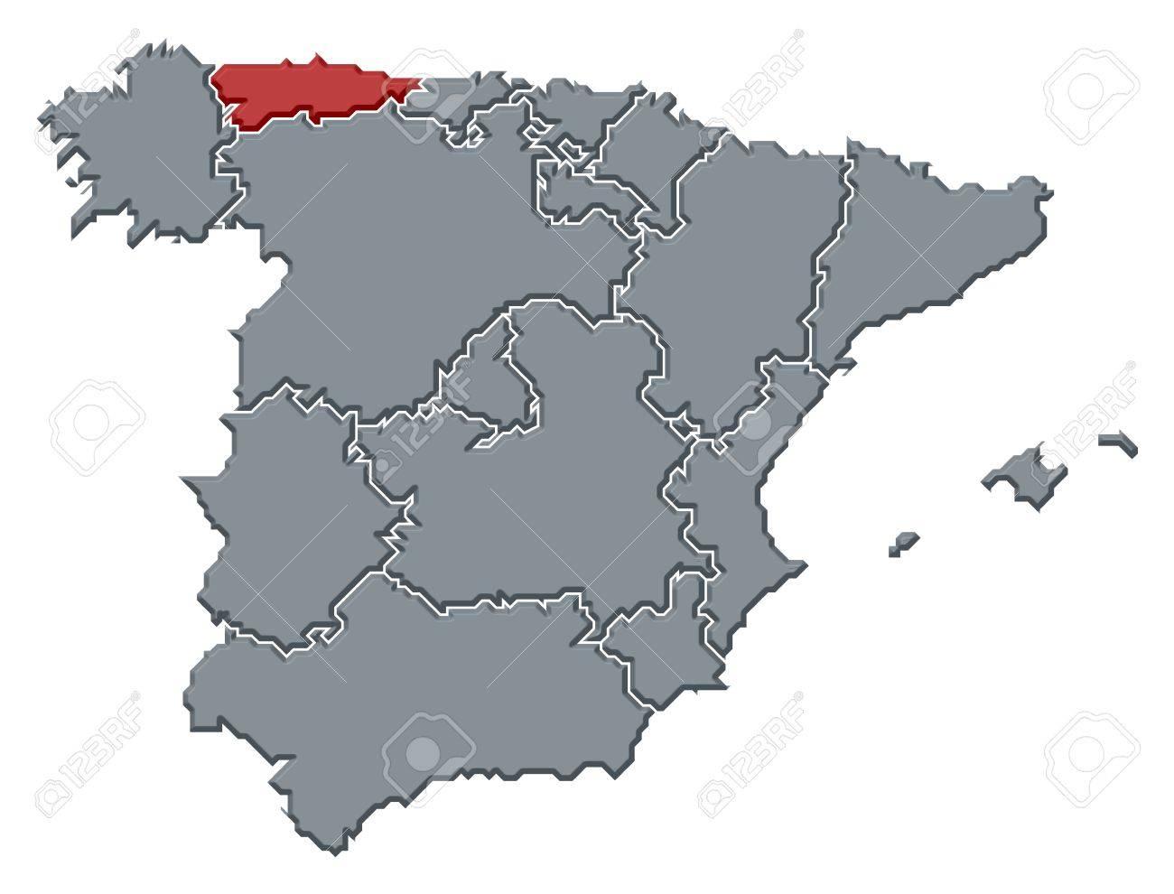 Mapa Politico De Asturias.Mapa Politico De Espana Con Las Diversas Regiones Donde Se Destaca Asturias