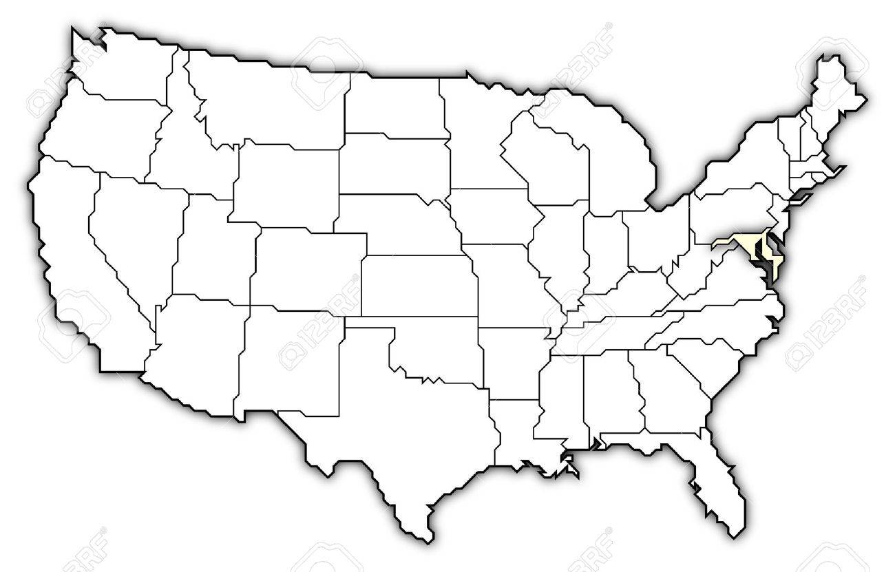 Political Map Of United States With The Several States Where - Drawing of usa map