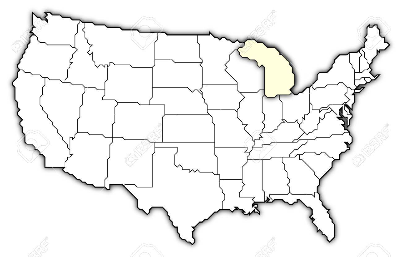 Map Of The Us States With Names Globalinterco - Where is michigan in us map