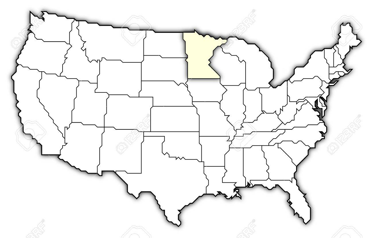 Political Map Of United States With The Several States Where - Minnesota on a us map