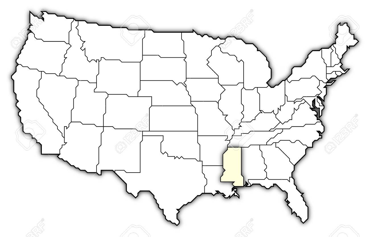 political map of united states with the several states where