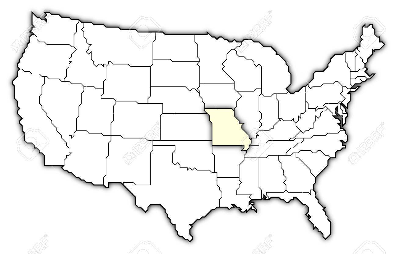 Political Map Of United States With The Several States Where Stock