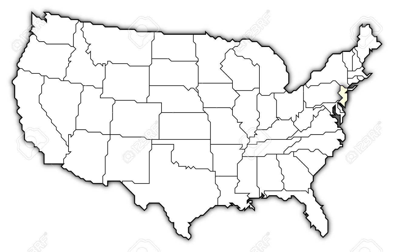 Political Map Of United States With The Several States Where - New jersey on us map
