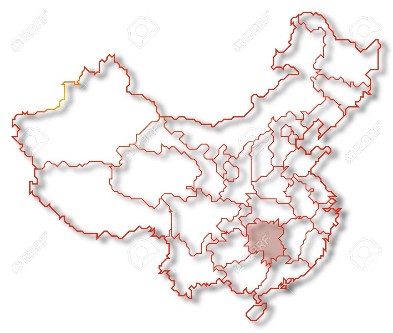 Carte Chine Hunan.Carte Politique De La Chine Avec Les Provinces Du Hunan Ou