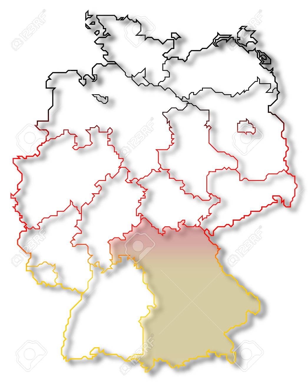 Map Of Germany Bavaria.Political Map Of Germany With The Several States Where Bavaria