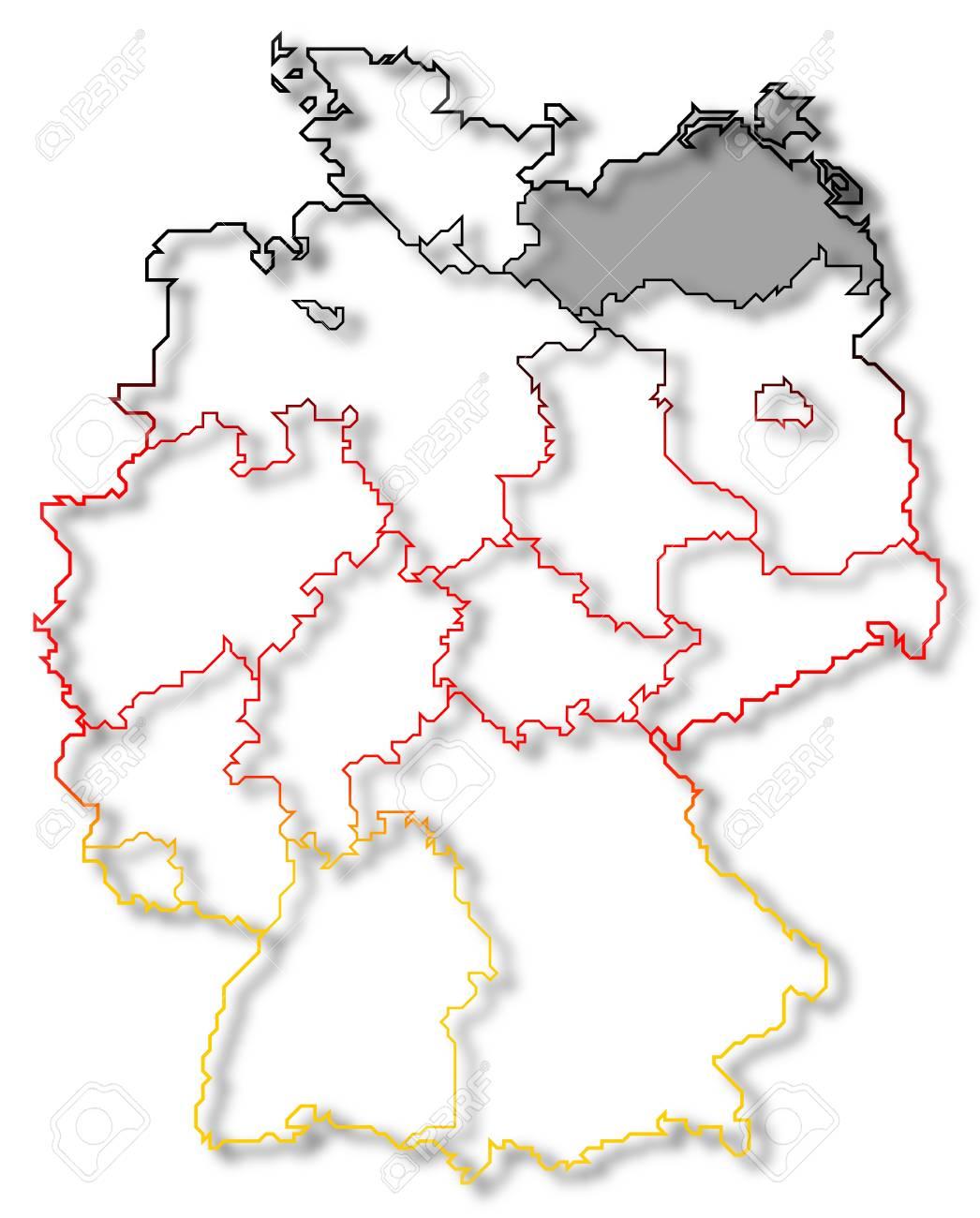 メクレンブルク = フォアポンメルン州が強調表示されますいくつかの州 ...