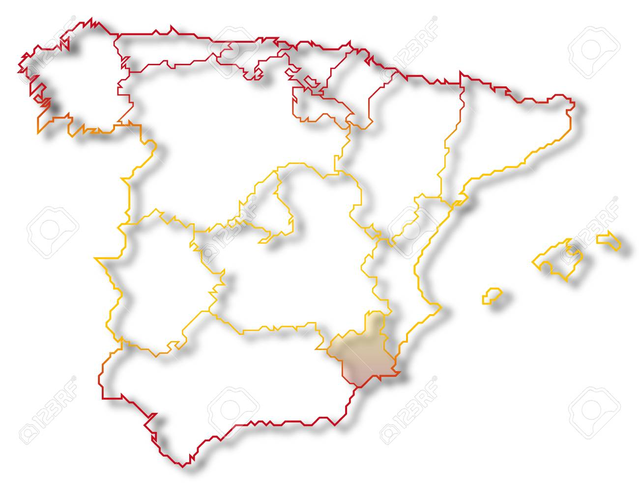 Map Of Spain With Regions.Political Map Of Spain With The Several Regions Where Murcia