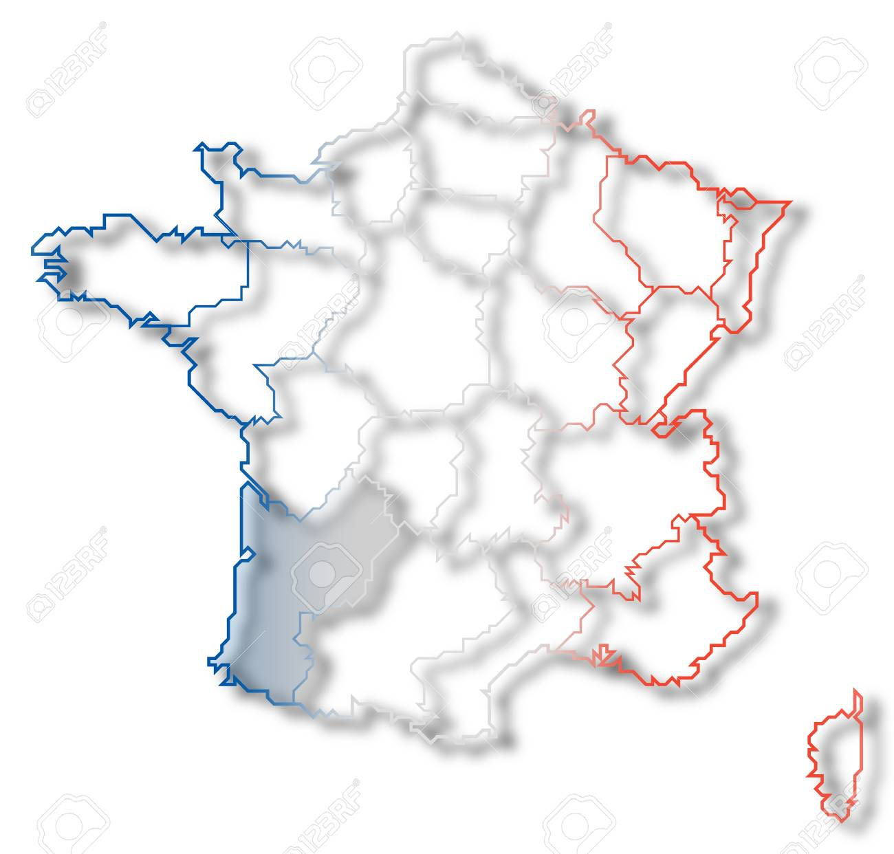Political Map Of France With The Several Regions Where Aquitaine