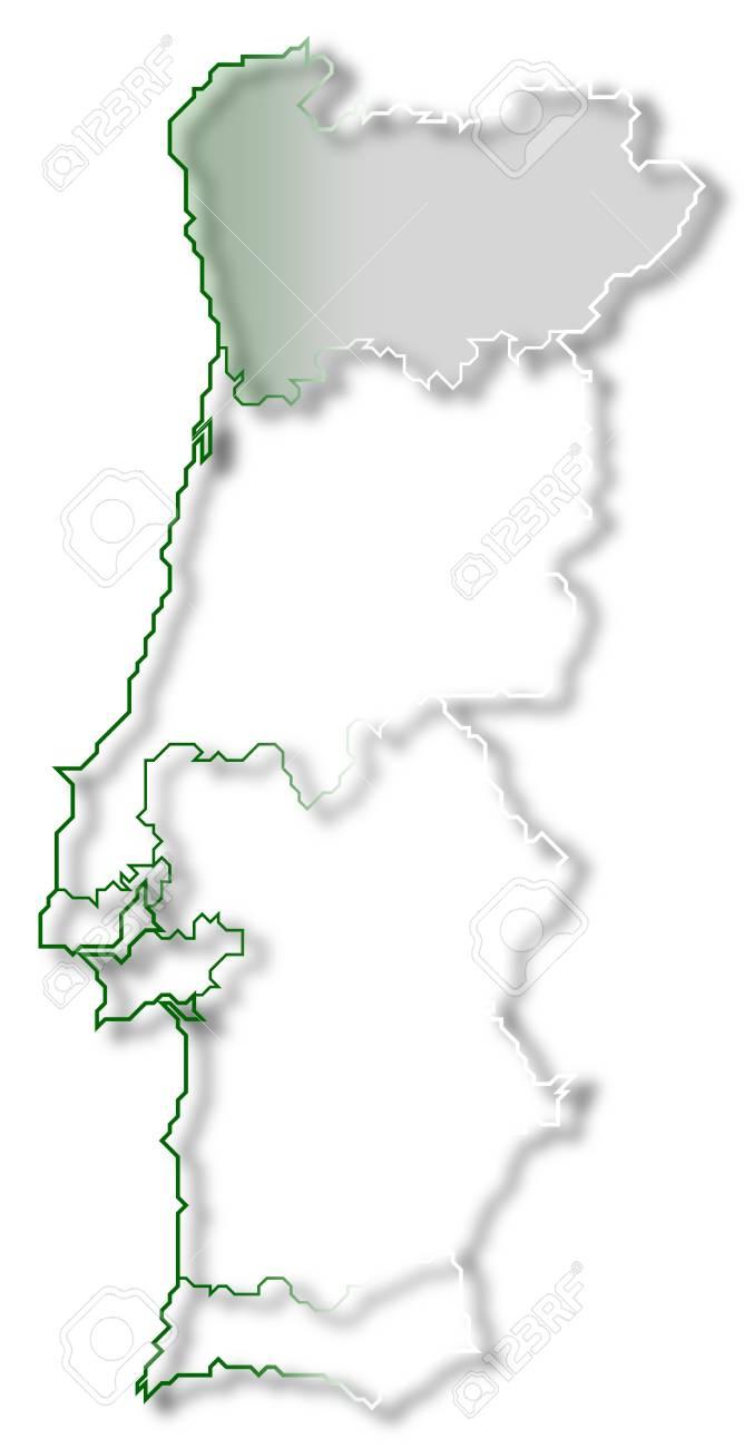 Cartina Politica Portogallo Con Regioni.Immagini Stock La Mappa Politica Del Portogallo Con Le Varie Regioni In Cui E Evidenziato Regione Norte Image 10818969