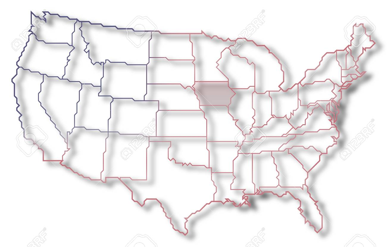 Where Is Iowa On The United States Map.Political Map Of United States With The Several States Where Stock