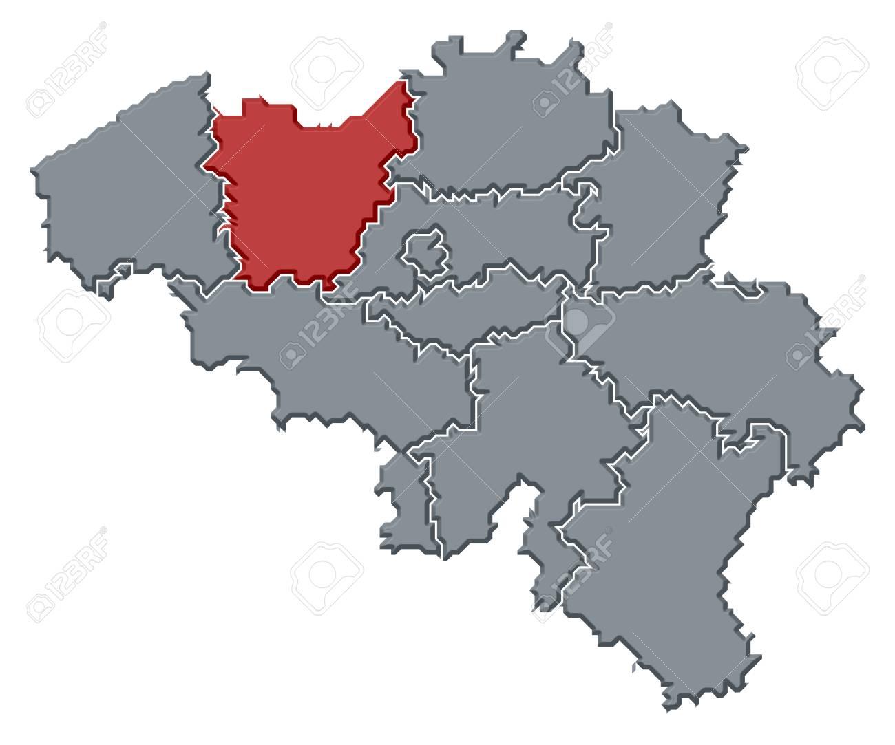 Mapa Politico De Belgica Con Los Diversos Estados Donde Se Destaca