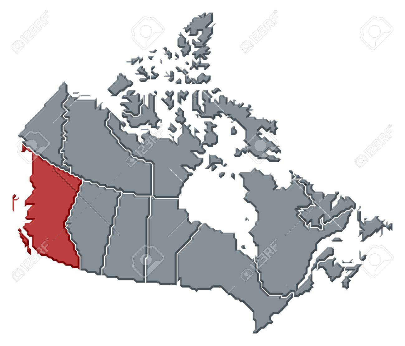 political map of canada with the several provinces where british columbia is highlighted stock photo