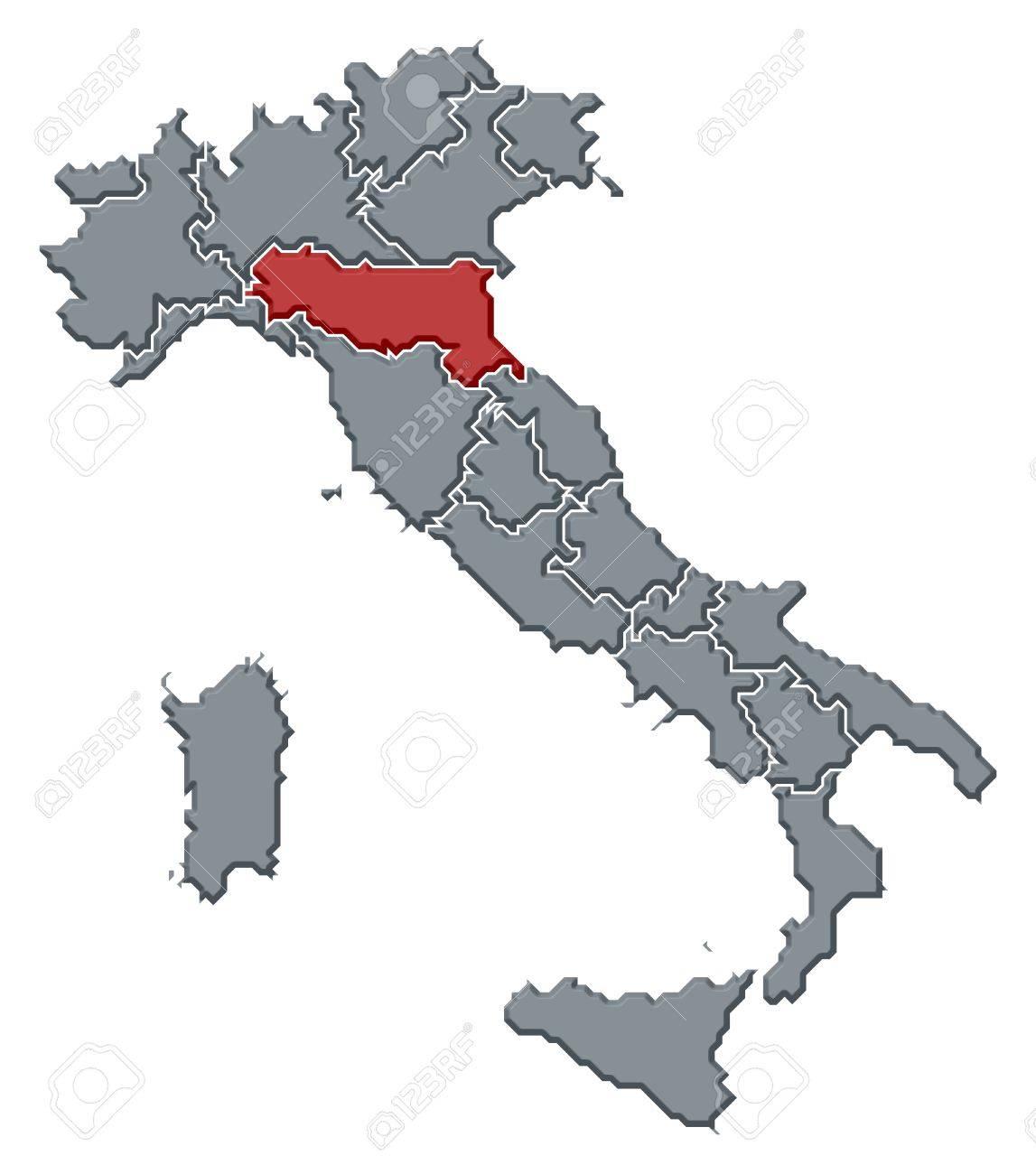 Cartina Italia Emilia Romagna.Mappa Politica D Italia Con Varie Regioni In Cui E Evidenziata Emilia Romagna