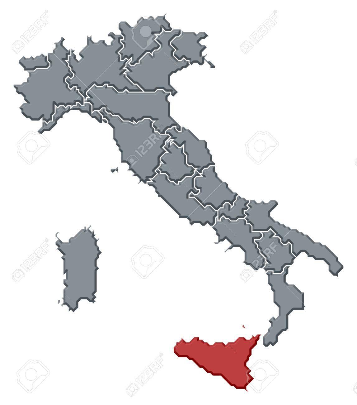 Regione Sicilia Cartina Politica.Immagini Stock Mappa Politica D Italia Con Le Varie Regioni In Cui E Evidenziato Sicilia Image 10826756