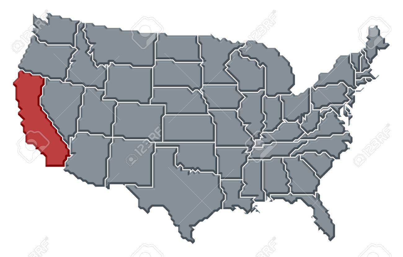 Political Map Of United States With The Several States Where.. Stock ...