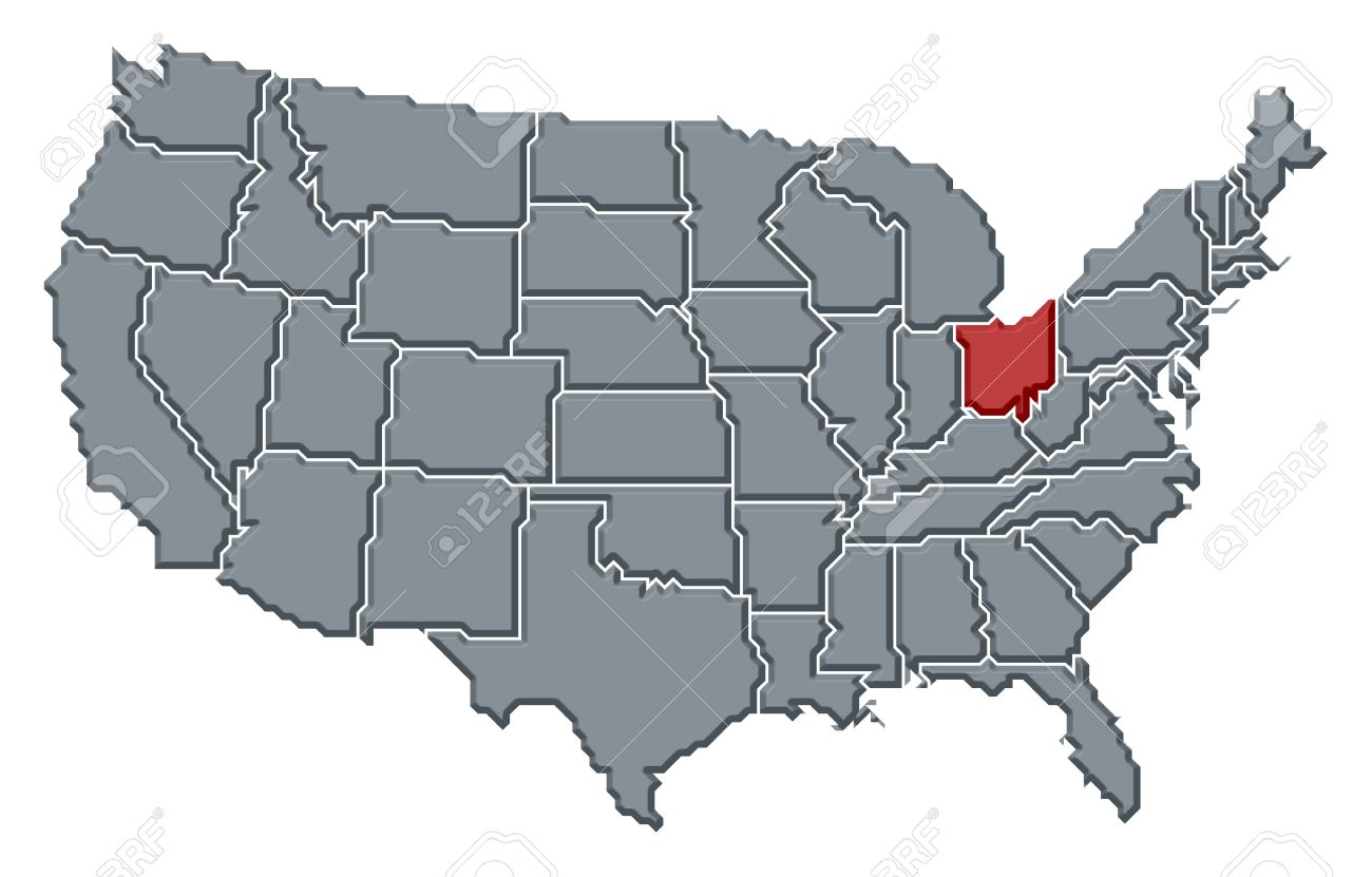 Political Map Of United States With The Several States Where - Us map ohio