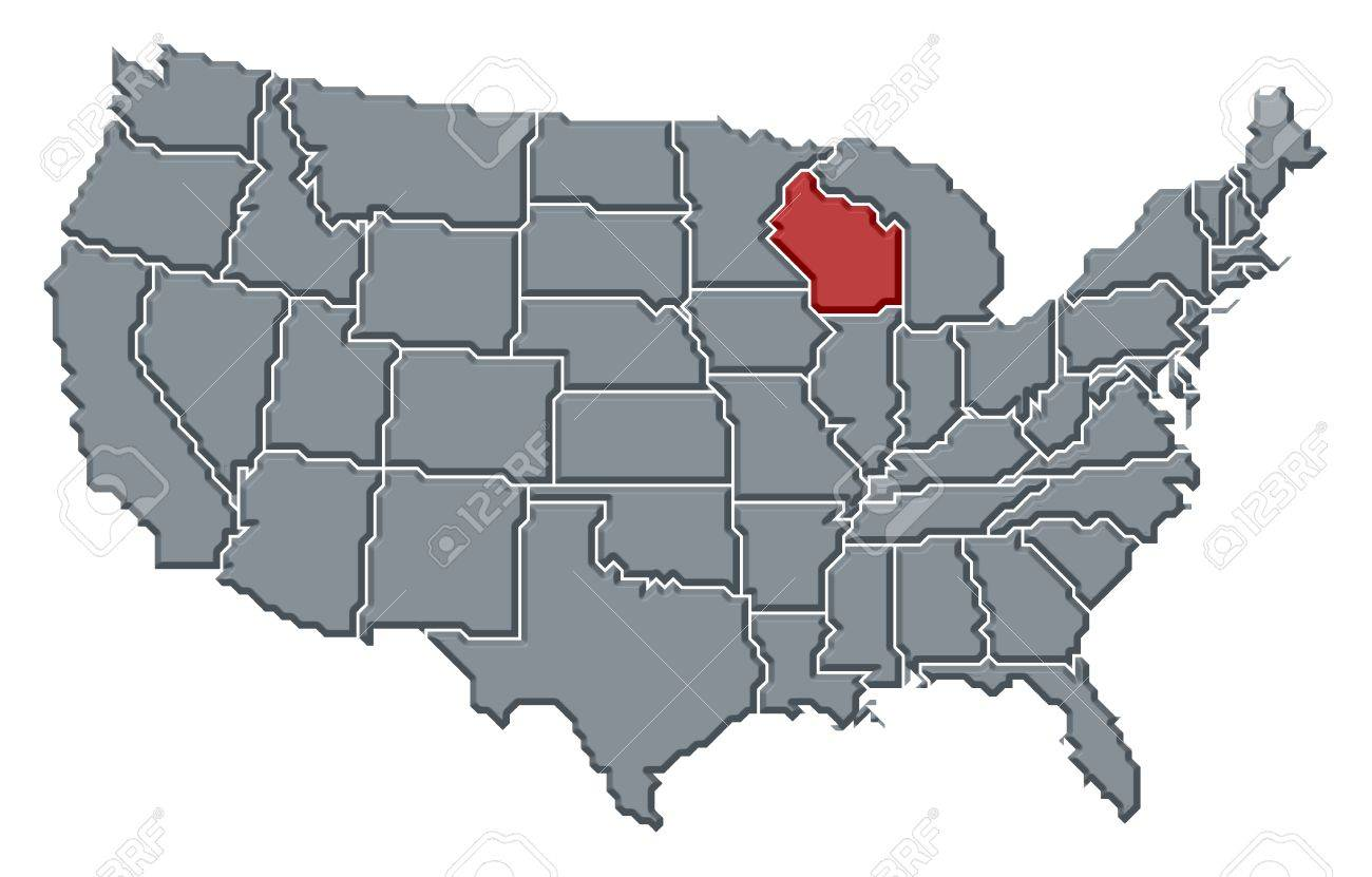 Where Is Wisconsin In Usa Map.Political Map Of United States With The Several States Where Stock