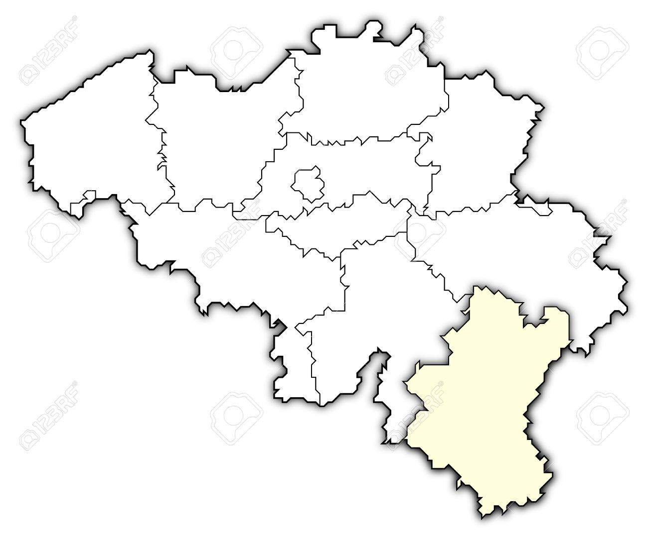 political map of belgium with the several states where luxembourg is highlighted stock photo