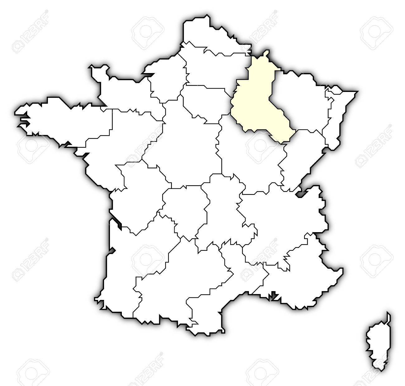 political map of france with the several regions where champagne