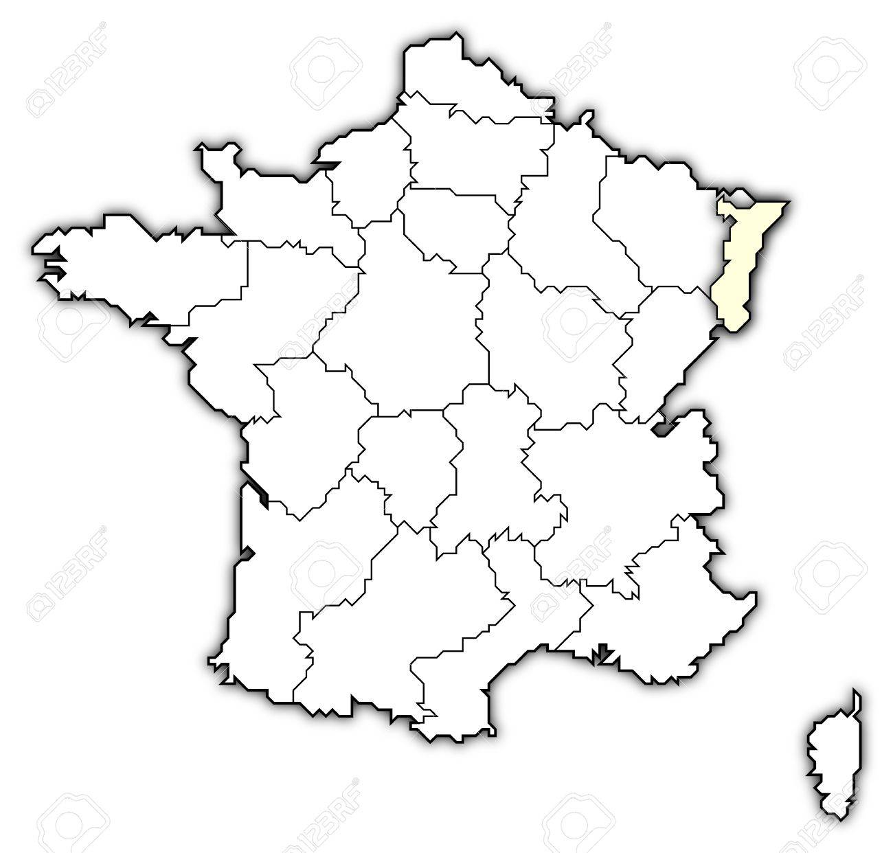 Map Of France Drawing.Political Map Of France With The Several Regions Where Alsace