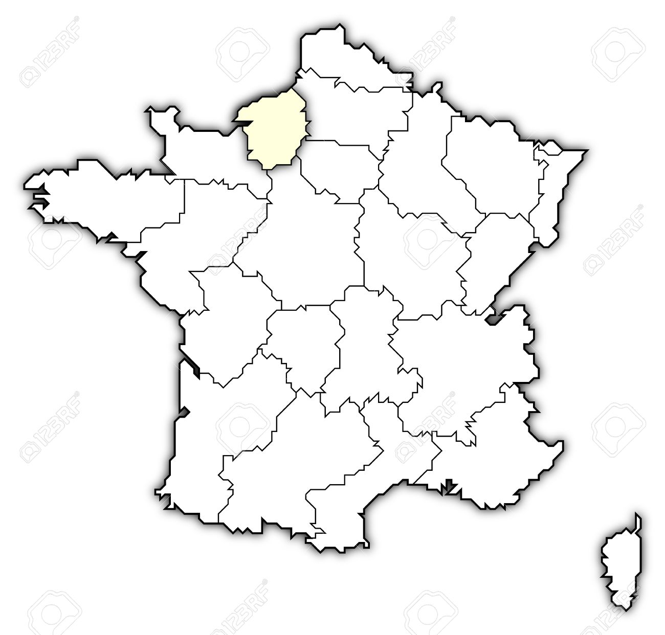 Political Map Of France With The Several Regions Where Upper Stock