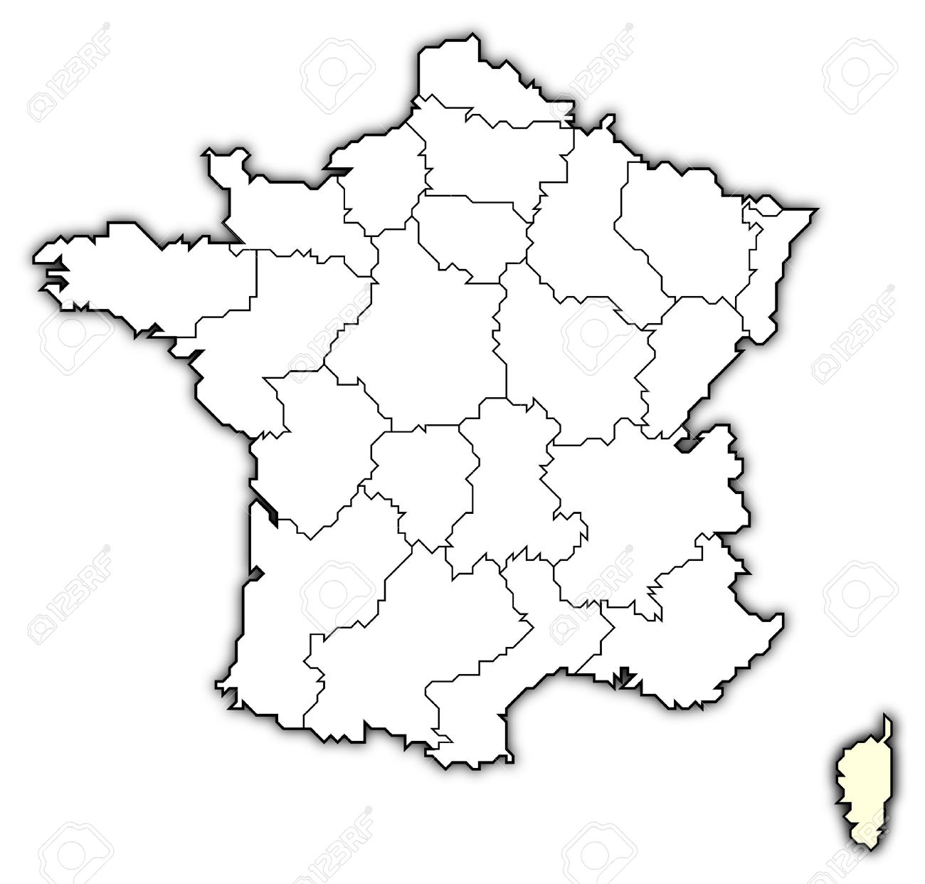Political map of France with the several regions where Corsica is highlighted. Stock Photo - 10865016