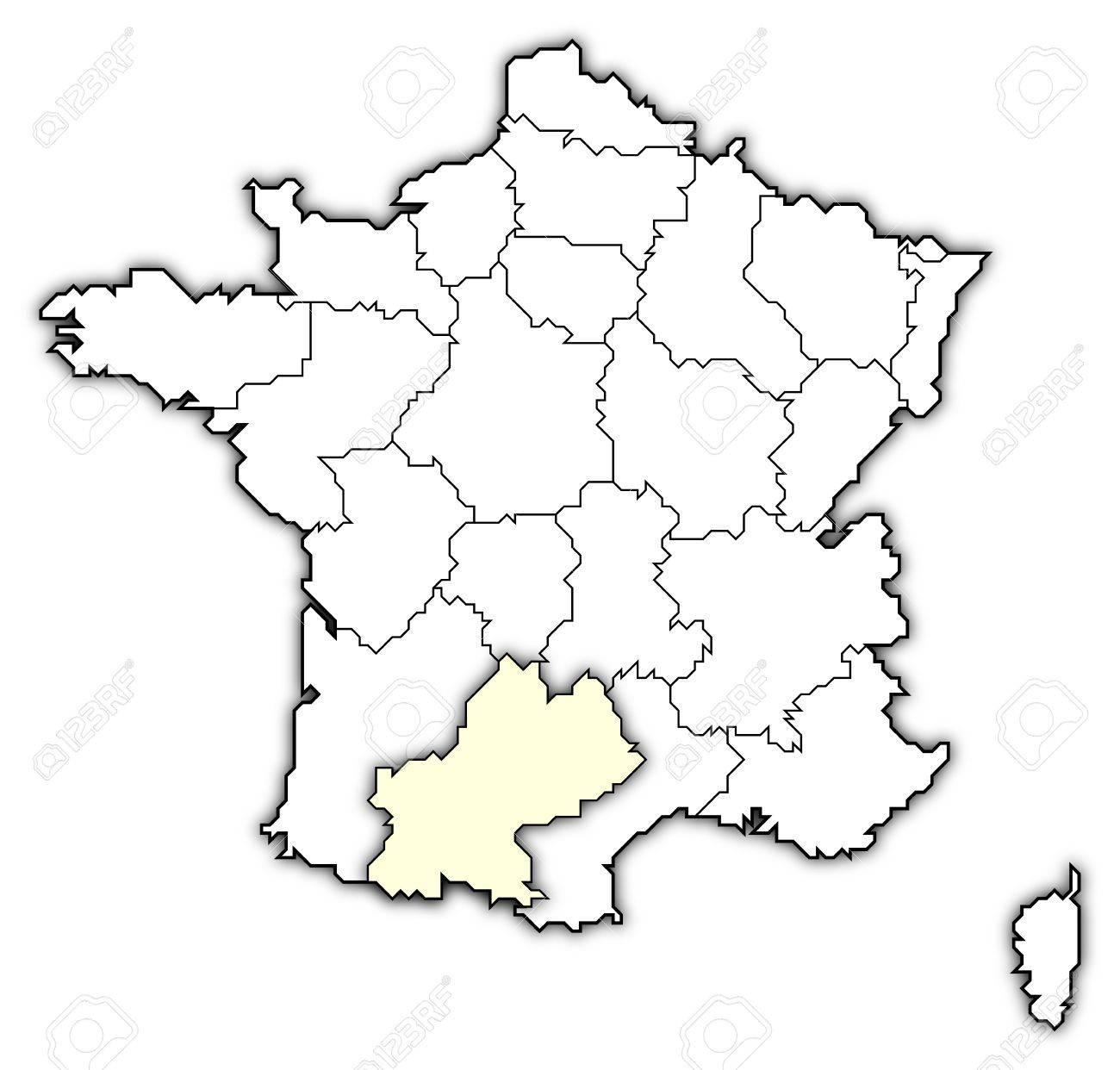 Regioni Francia Cartina.Immagini Stock Mappa Politica Della Francia Con Le Varie Regioni In Cui E Evidenziato Midi Pyrnes Image 10865047