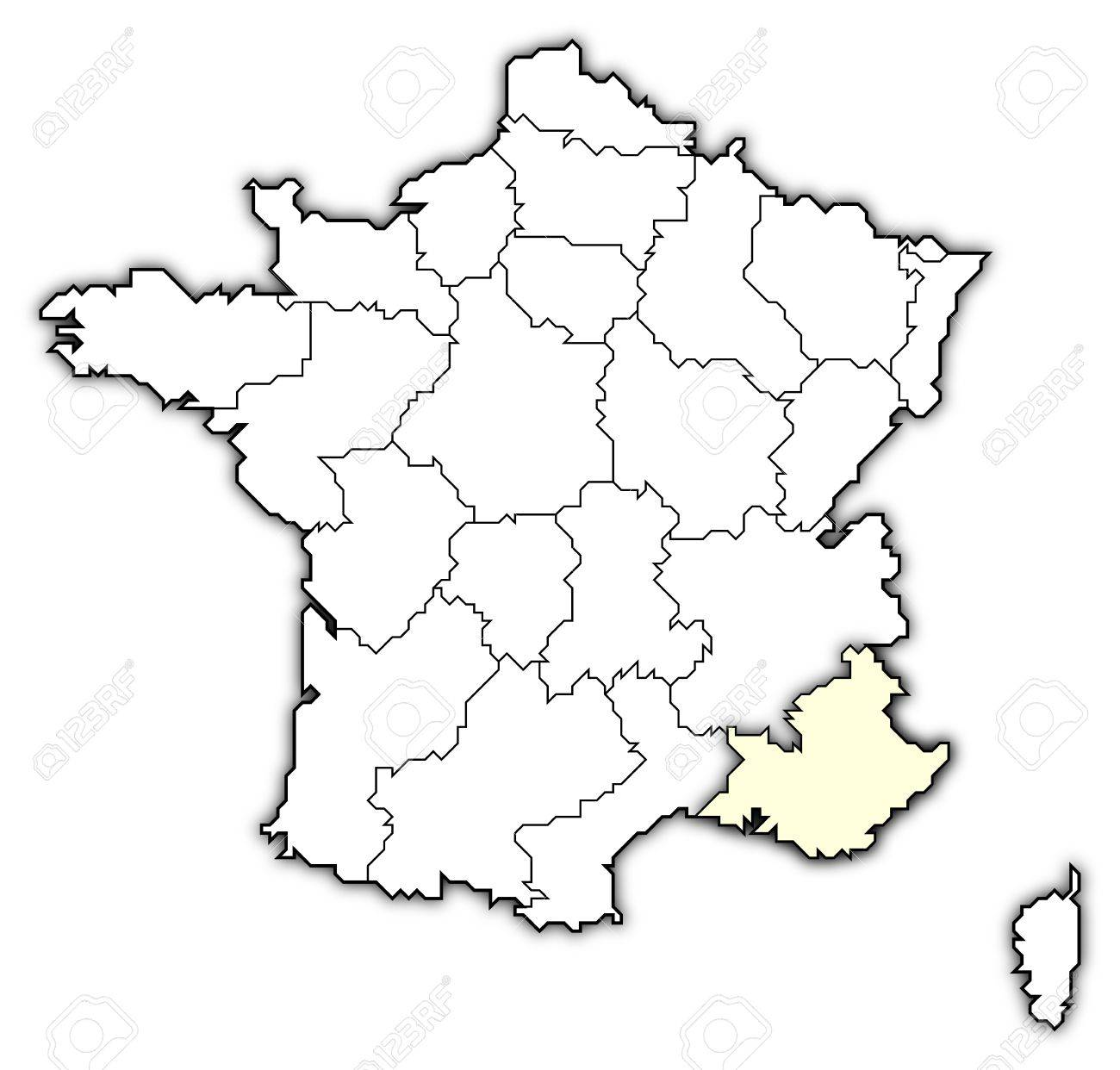 Provence Map Of France.Political Map Of France With The Several Regions Where Provence