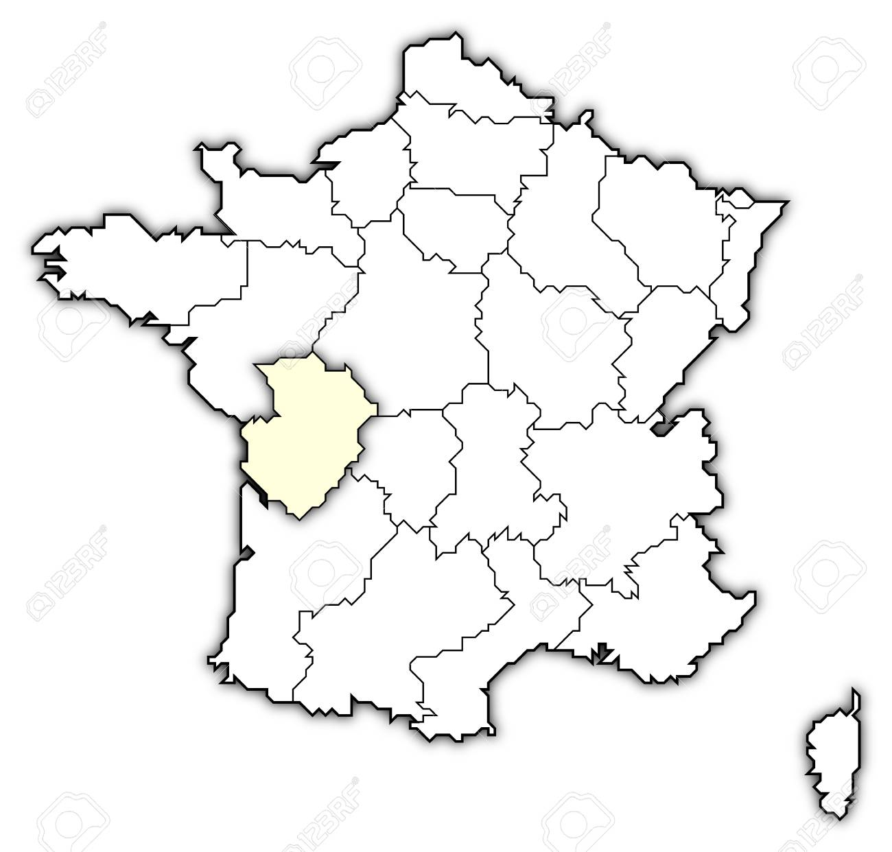 Poitou France Map.Political Map Of France With The Several Regions Where Poitou