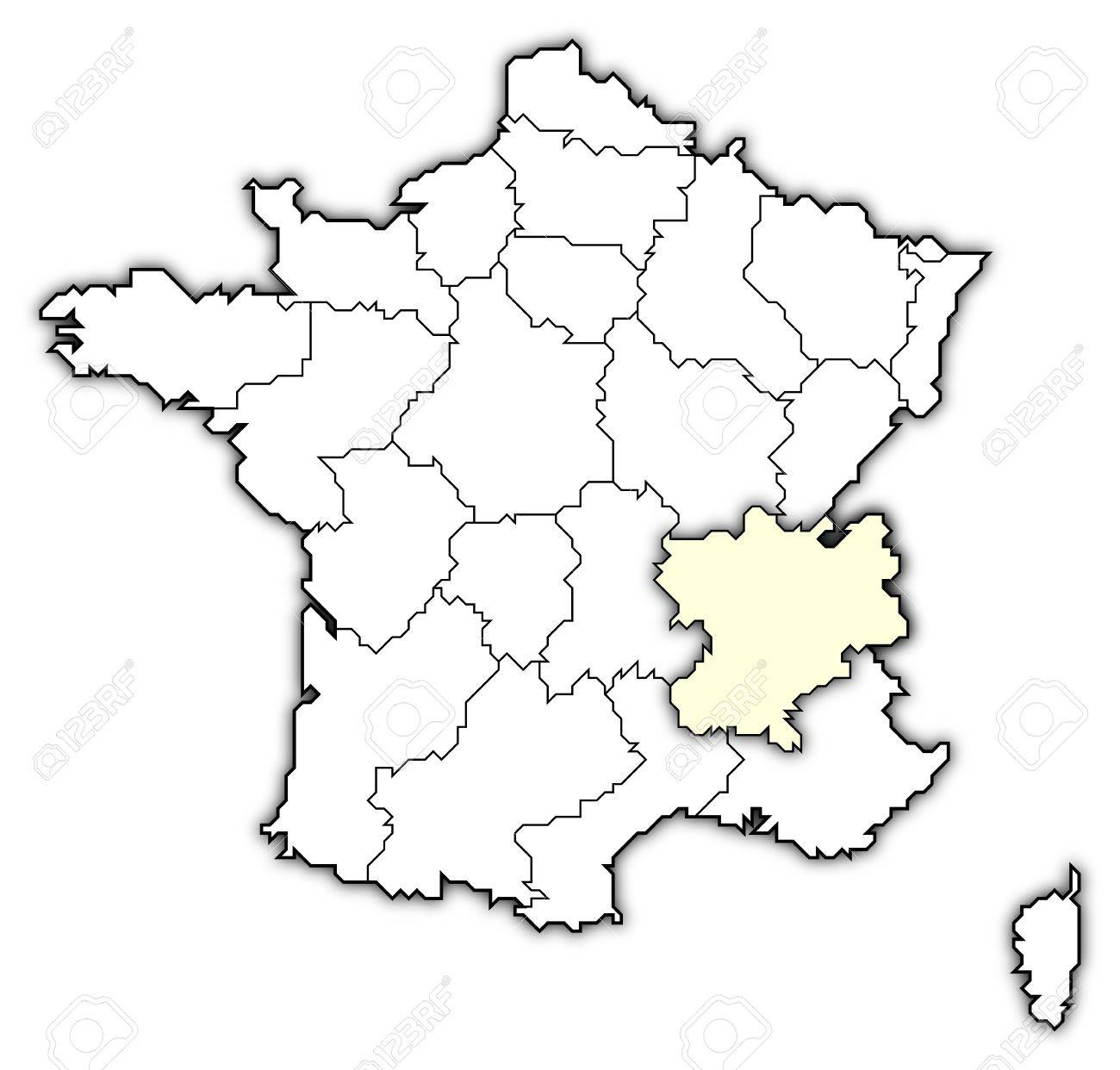 Carte Politique De La France Avec Les Diverses Regions Ou La Region Rhone Alpes Est En Surbrillance Banque D Images Et Photos Libres De Droits Image 10865045