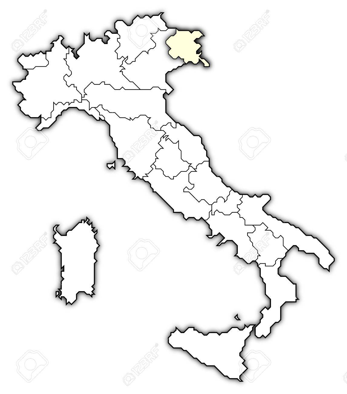 Friuli Italy Map.Political Map Of Italy With The Several Regions Where Friuli Venezia