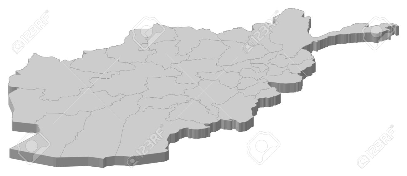 Political Map Of Afghanistan With The Several Provinces Royalty