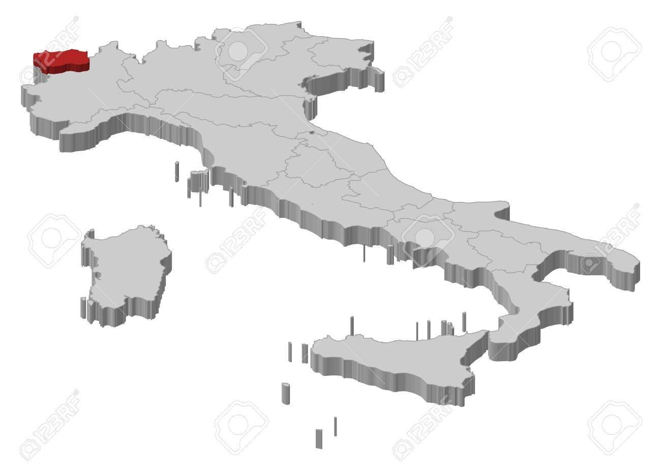 Cartina Italia Valle D Aosta.Mappa Politica D Italia Con Varie Regioni In Cui E Evidenziato Valle D Aosta