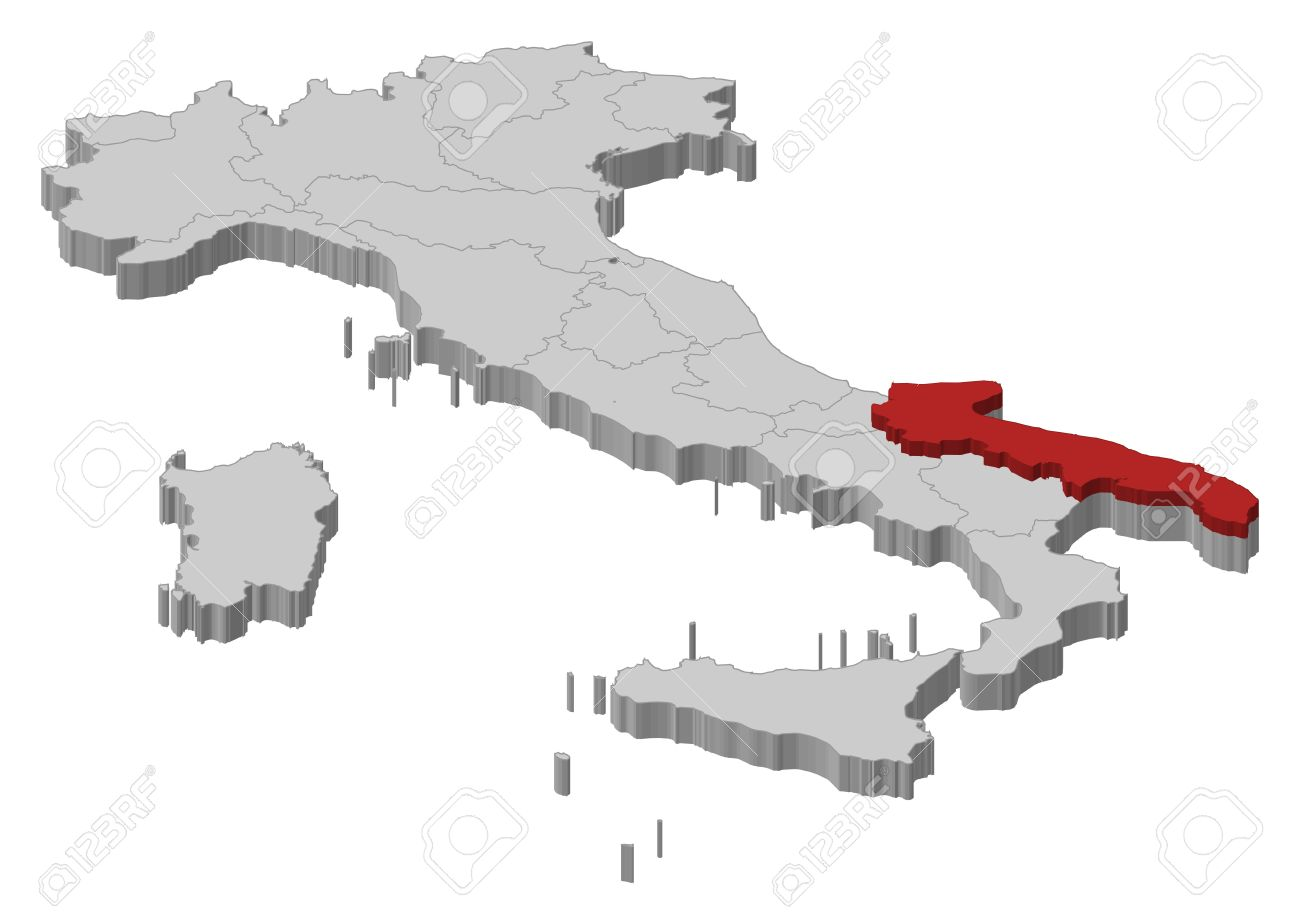 Political Map Of Italy With The Several Regions Where Apulia