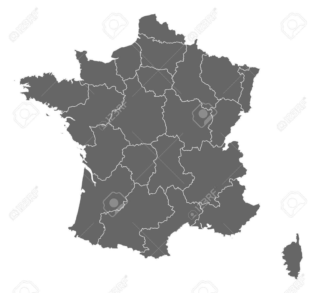 Politisk Karta Over Frankrike Med Flera Regioner Royalty Fri