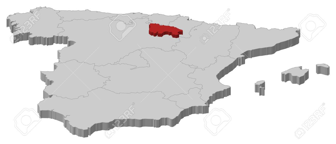 Map Of Spain Rioja.Political Map Of Spain With The Several Regions Where La Rioja