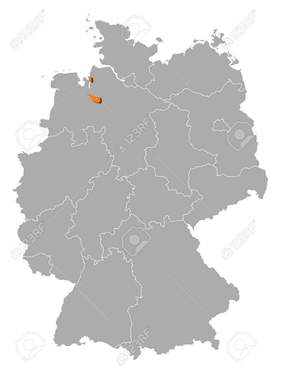 Political Map Of Germany With The Several States Where Bremen - Germany map bremen