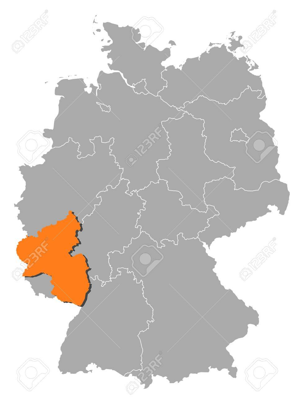 Political Map Of Germany With The Several States Where Rhineland - Germany map states
