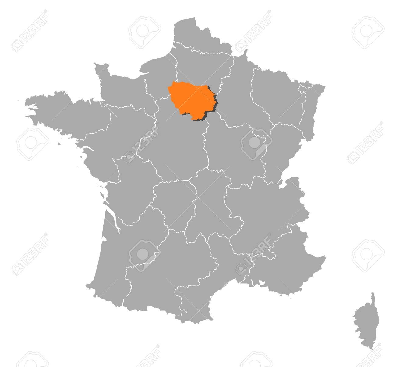 La Cartina Della Francia Politica.Mappa Politica Della Francia Con Le Varie Regioni In Cui Si Evidenzia Le De France