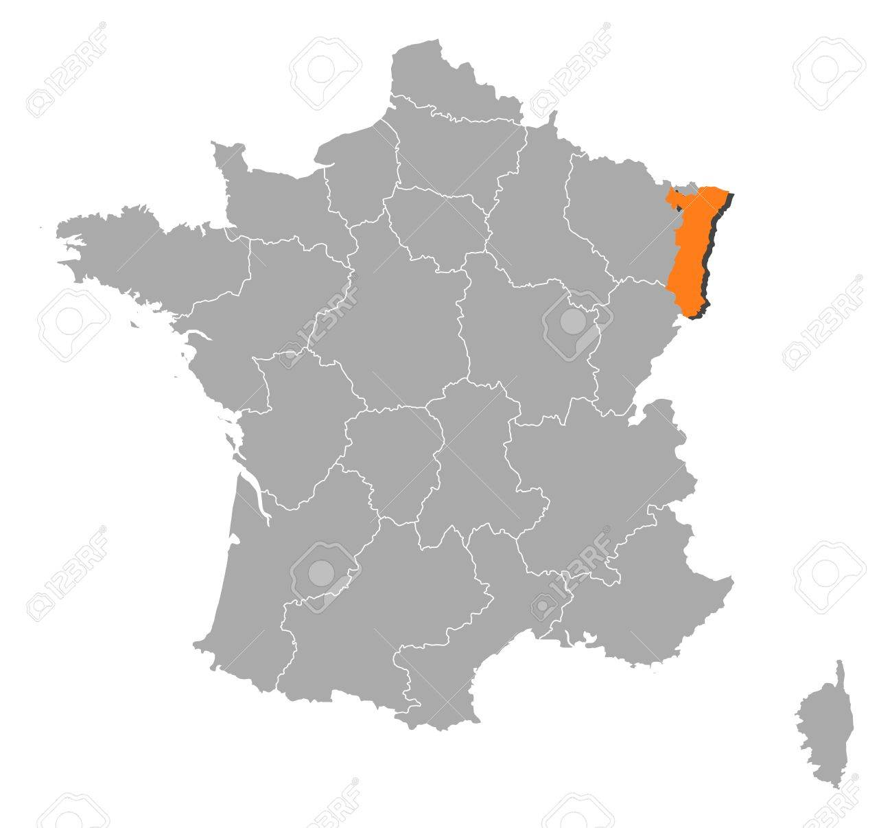 Political map of france with the several regions where alsace political map of france with the several regions where alsace is highlighted stock vector gumiabroncs Images