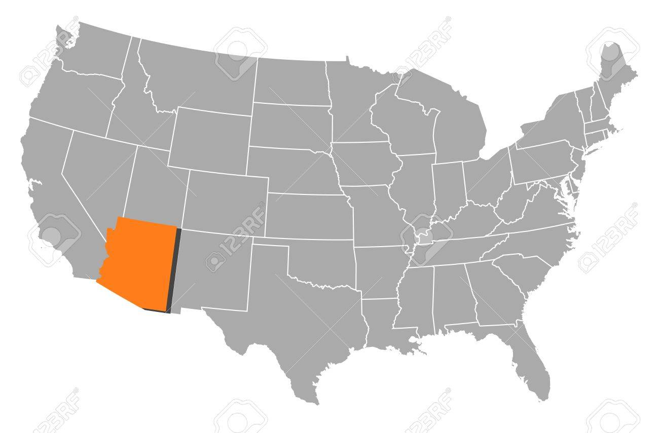 Where Is Arizona On The Us Map.Political Map Of United States With The Several States Where