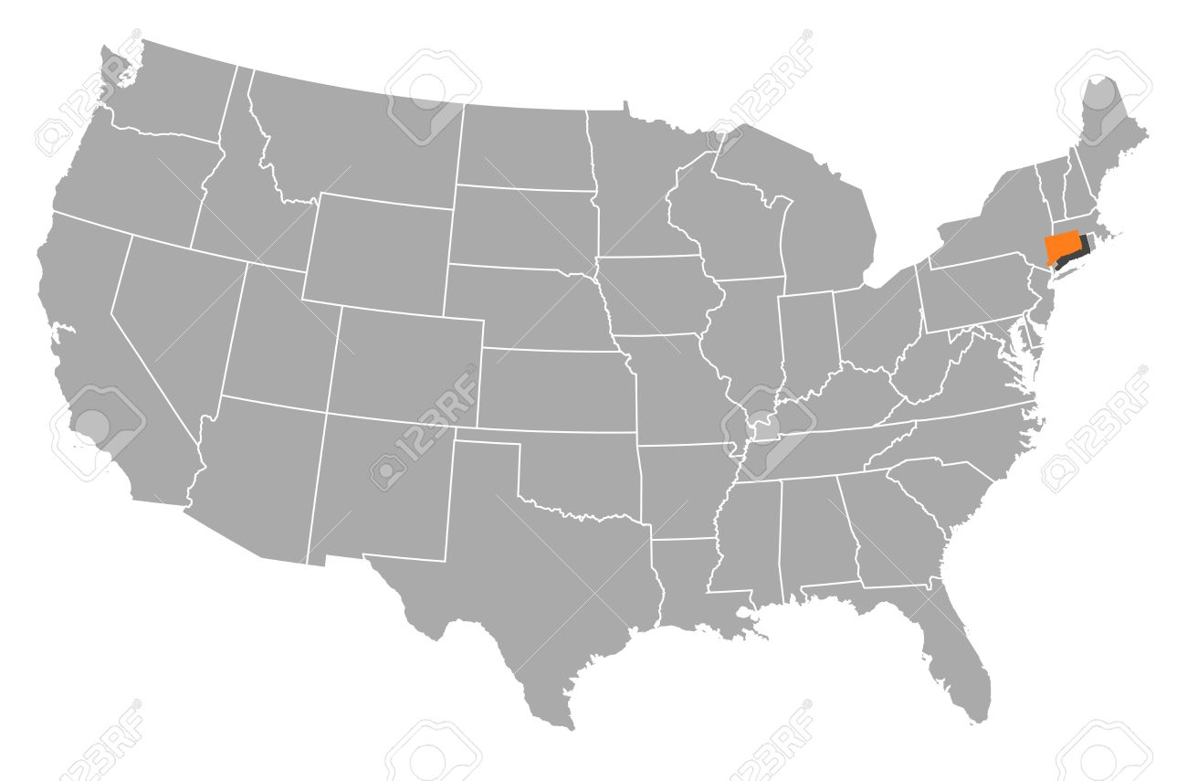 Political Map Of United States With The Several States Where - Us map connecticut