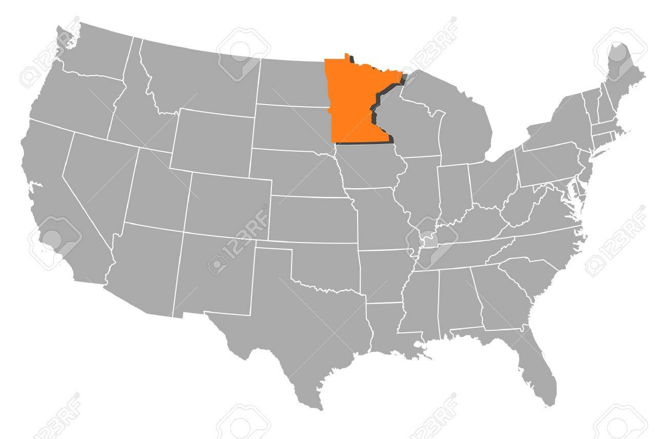 Political Map Of United States With The Several States Where - Map of the us with mn highlighted