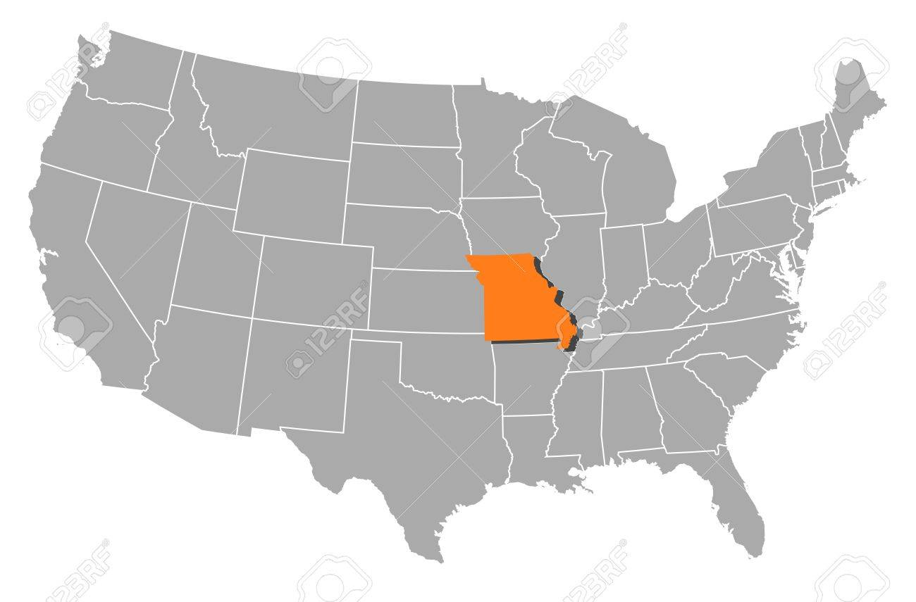 Political Map Of United States With The Several States Where - Missouri on the us map