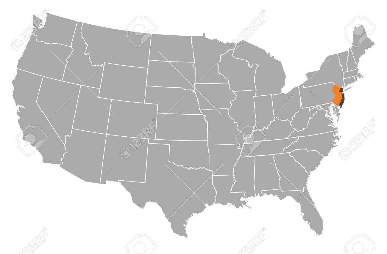 Political Map Of United States With The Several States Where - Us map new jersey