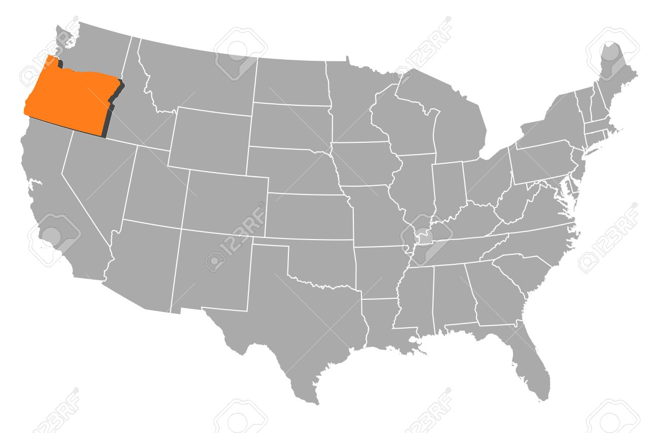 Political Map Of United States With The Several States Where - Oregon map us