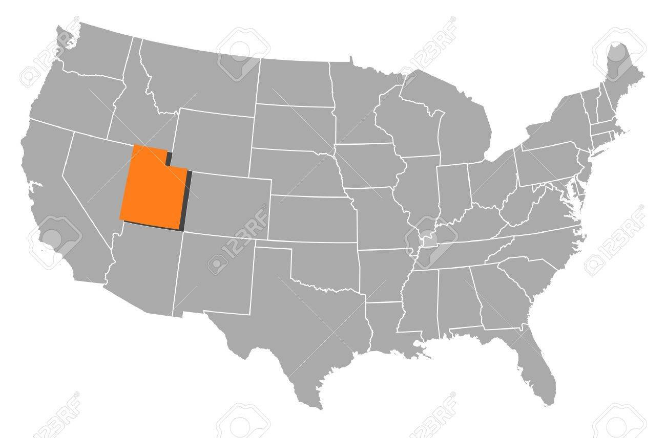 Utah State On USA Map Utah Flag And Map US States Royalty Free - Map usa utah
