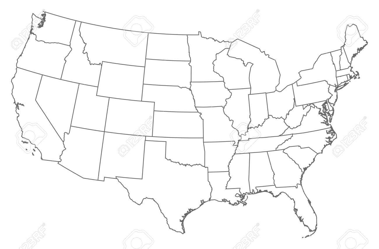 Political Map Of The United States With The Several States - Us map with states outlined vector
